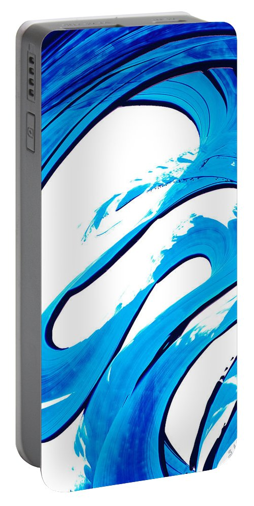 Abstract Portable Battery Charger featuring the painting Pure Water 315 - Blue Abstract Art By Sharon Cummings by Sharon Cummings