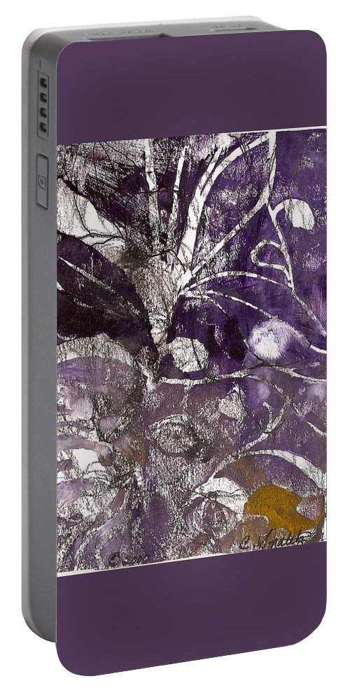 Botanical Prints Portable Battery Charger featuring the relief Purity Is Passion by Claudia Smaletz