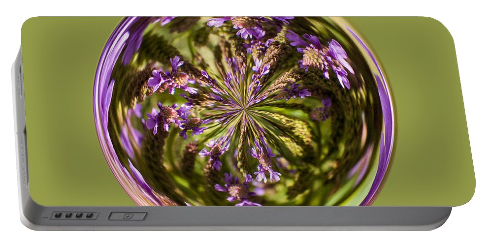 Orb Portable Battery Charger featuring the photograph Purpble Wildflower Orb by Darleen Stry
