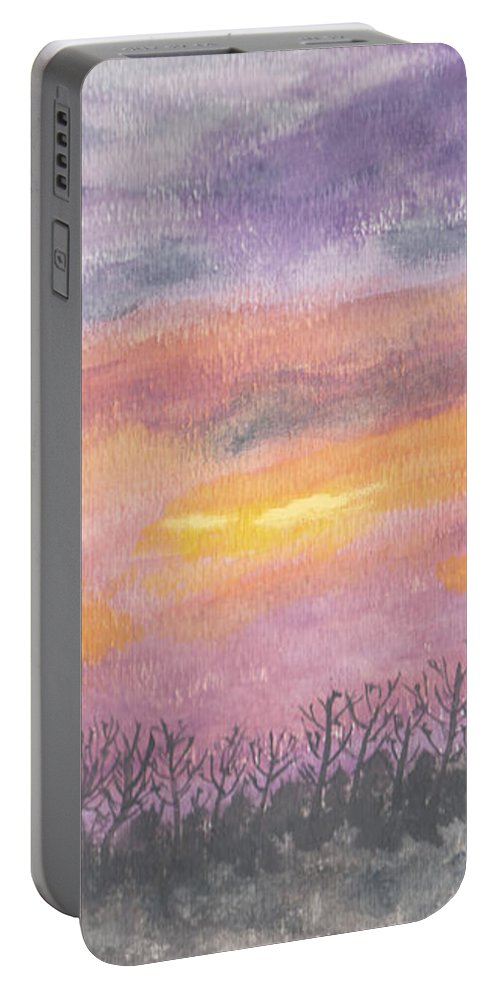Sunset Portable Battery Charger featuring the painting Purple And Gold November Sunset In West Michiganwatercolor by Conni Schaftenaar