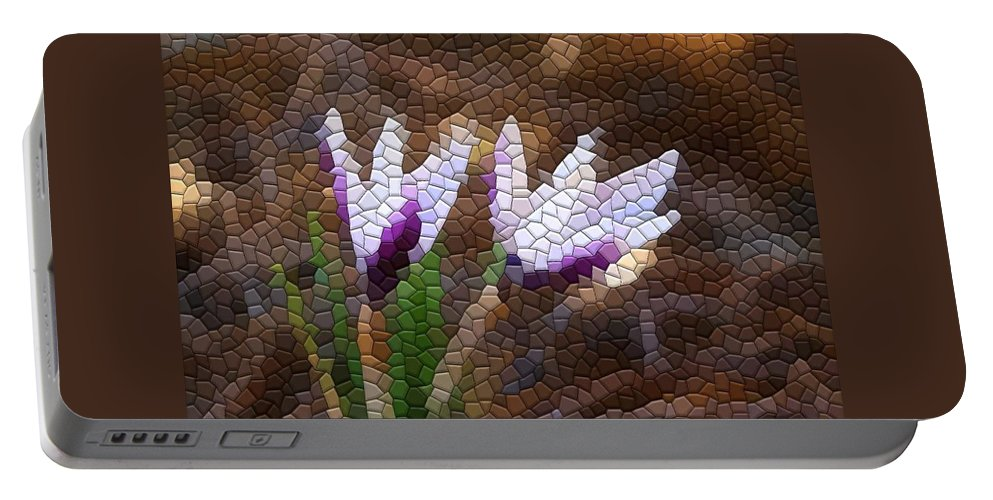 Mosaic Portable Battery Charger featuring the photograph Purple And White Crocus by Kathryn Meyer