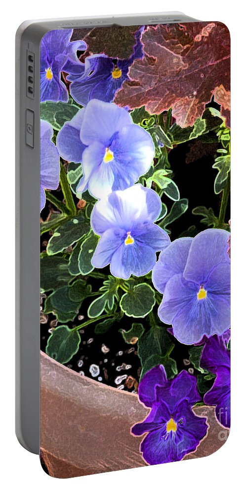 Pot Portable Battery Charger featuring the photograph Bright Purple Pansy by Flamingo Graphix John Ellis