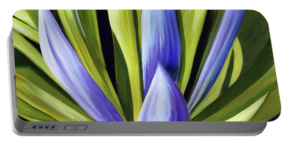 Cactus Portable Battery Charger featuring the painting Purple Cactus by Debbie Hart