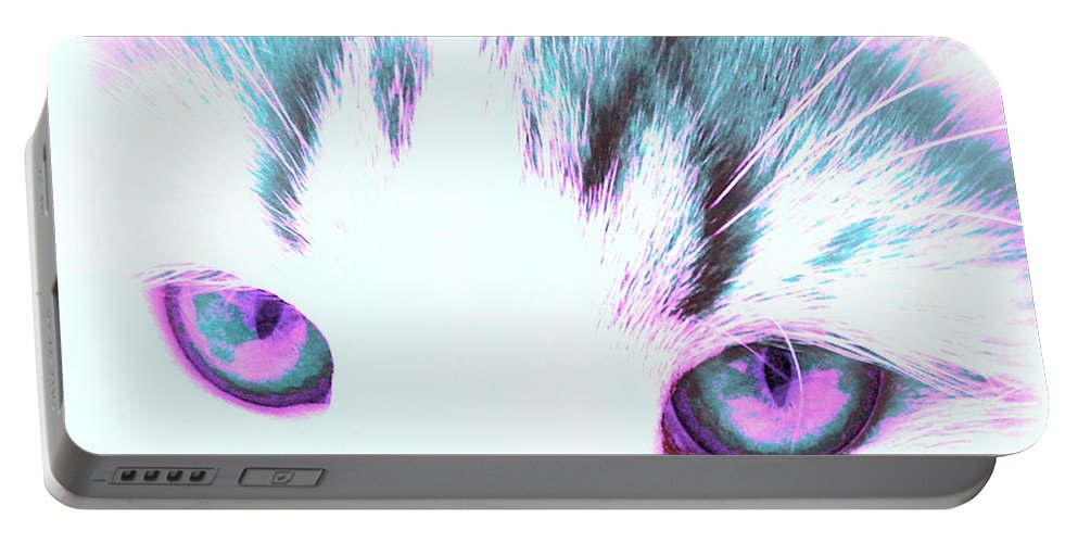 Cat Eyes Portable Battery Charger featuring the photograph Purple Cat Eyes by Anita Lewis