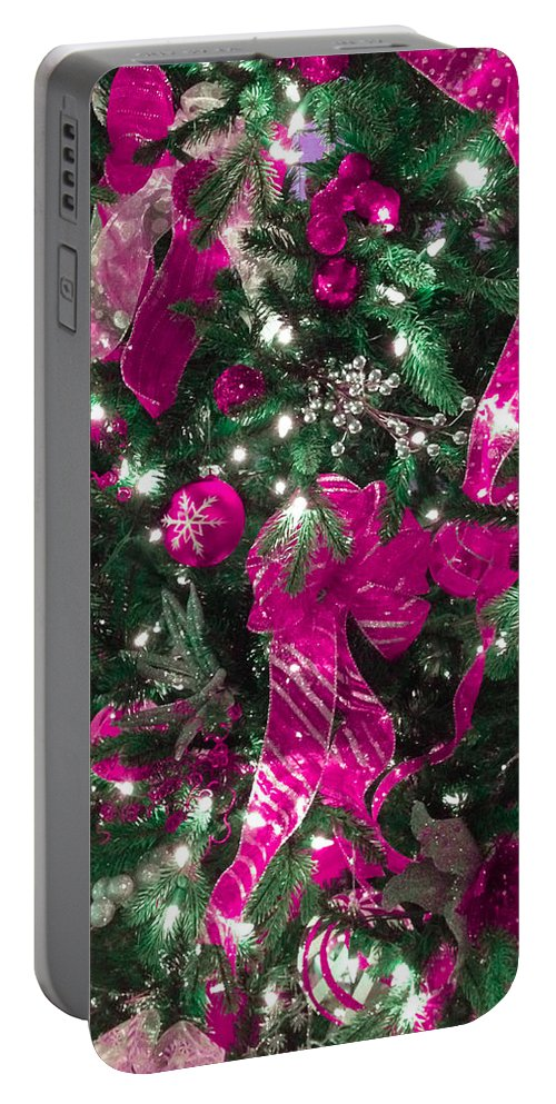Optical Playground By Mp Ray Portable Battery Charger featuring the photograph Purple Christmas by Optical Playground By MP Ray