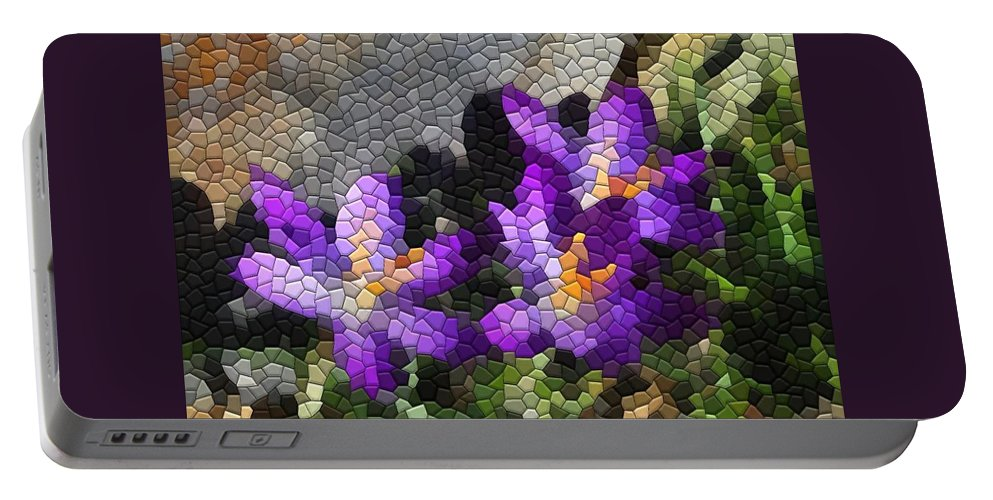 Mosaic Portable Battery Charger featuring the photograph Purple Crocus by Kathryn Meyer