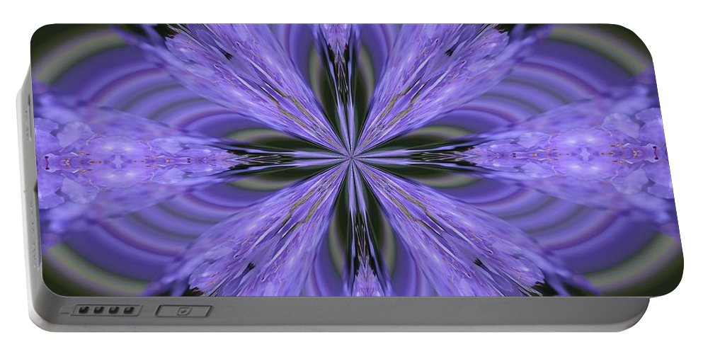 Kaleidoscope Portable Battery Charger featuring the photograph Purple Fantasy by Lena Photo Art