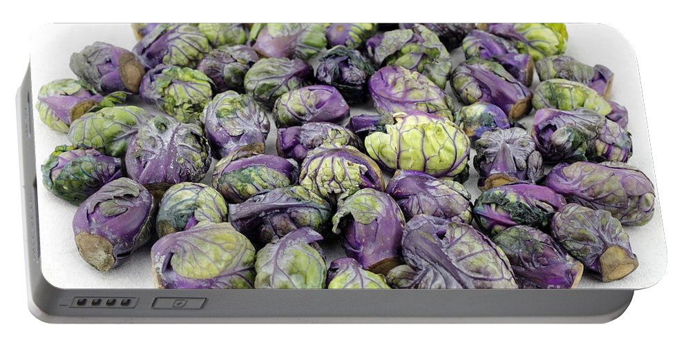 Purple Portable Battery Charger featuring the photograph Purple Green Brussels Sprouts by Lee Serenethos