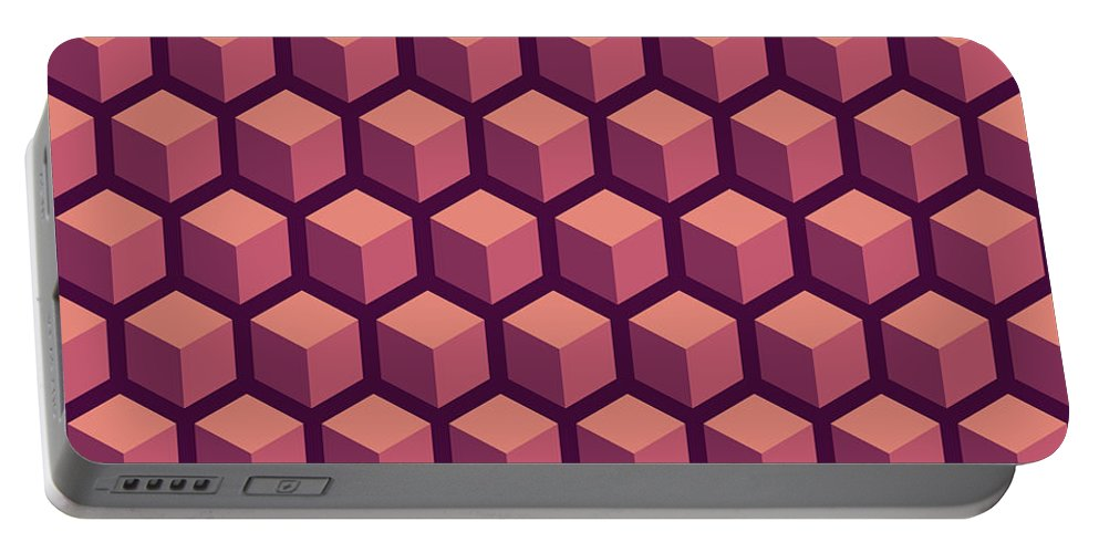 Abstract Portable Battery Charger featuring the digital art Purple Hexagonal Pattern by Mike Taylor