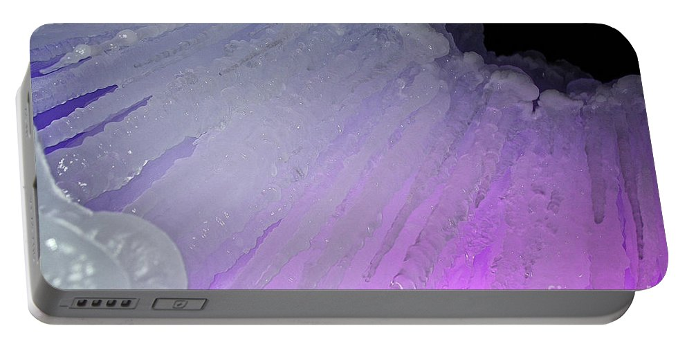 Ice Portable Battery Charger featuring the photograph Purple Iris Ice Eye by Susan Herber