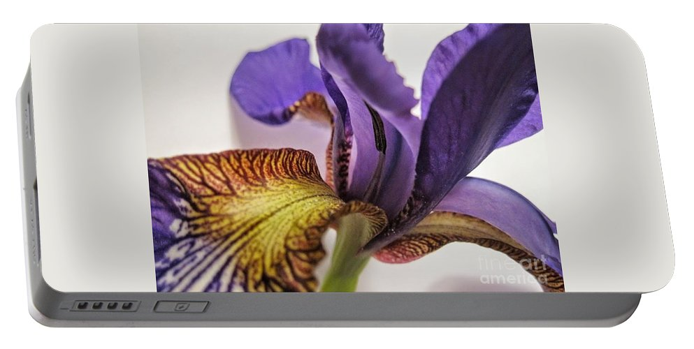 Abstract Portable Battery Charger featuring the photograph Purple Iris Macro 5 by Tara Shalton