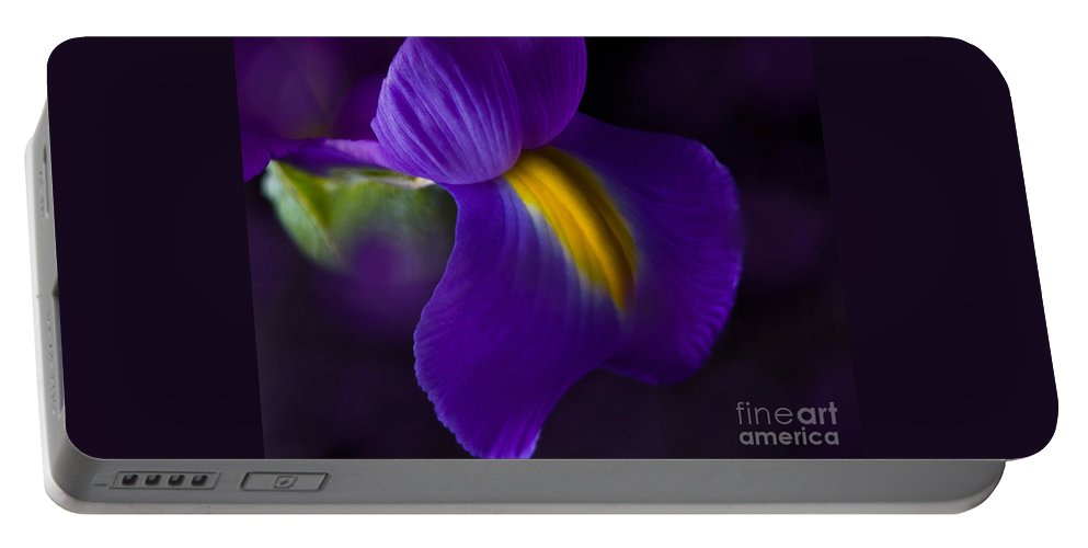 Iris Portable Battery Charger featuring the photograph Purple Light Iris Macro by TN Fairey