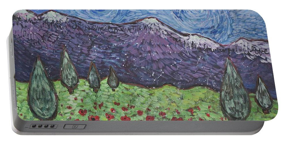 Rocky Mountains Portable Battery Charger featuring the painting Purple Mountain Majesty by Laurie Maves ART