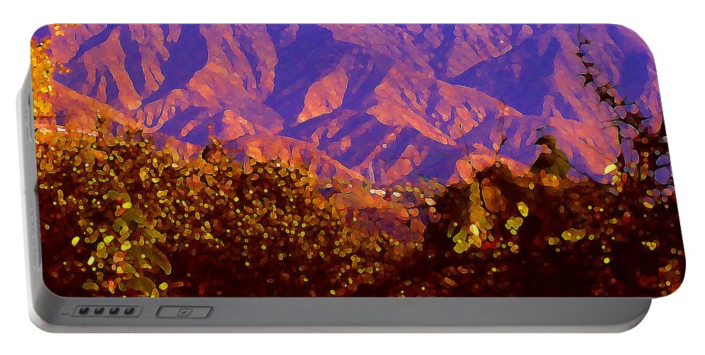 Landscapes Portable Battery Charger featuring the painting Purple Mountains Majesty by Amy Vangsgard