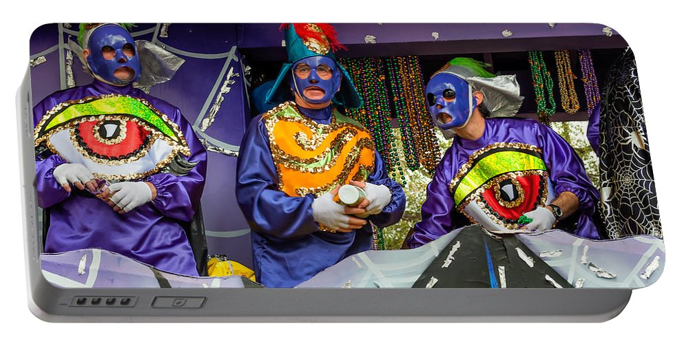 Nola Portable Battery Charger featuring the photograph Purple Party People by Steve Harrington