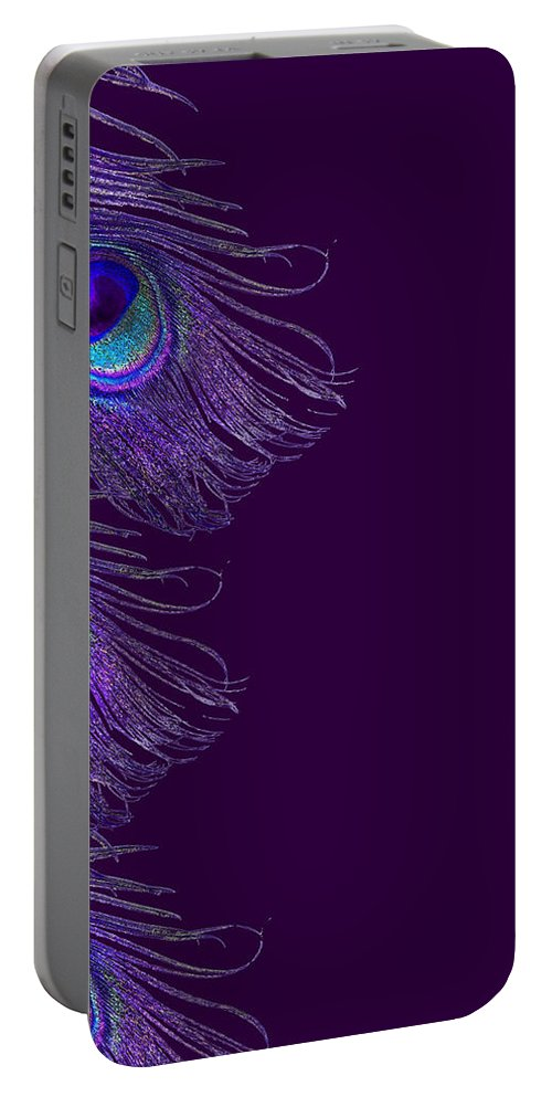 Peacock Portable Battery Charger featuring the digital art Purple Peacock Phone Case by Jane Schnetlage