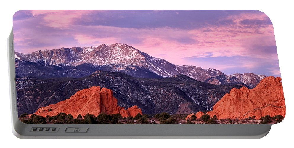 Pikes Peak Portable Battery Charger featuring the photograph Purple Skies Over Pikes Peak by Ronda Kimbrow