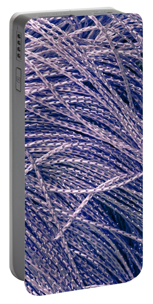 Abstract Portable Battery Charger featuring the photograph Purple String by Tom Gowanlock
