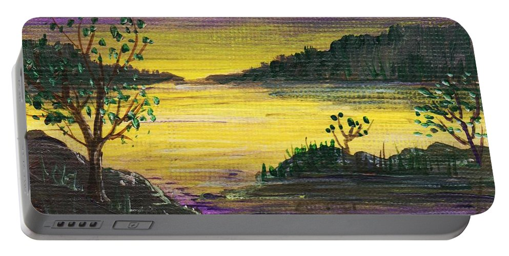 Calm Portable Battery Charger featuring the painting Purple Sunset by Anastasiya Malakhova