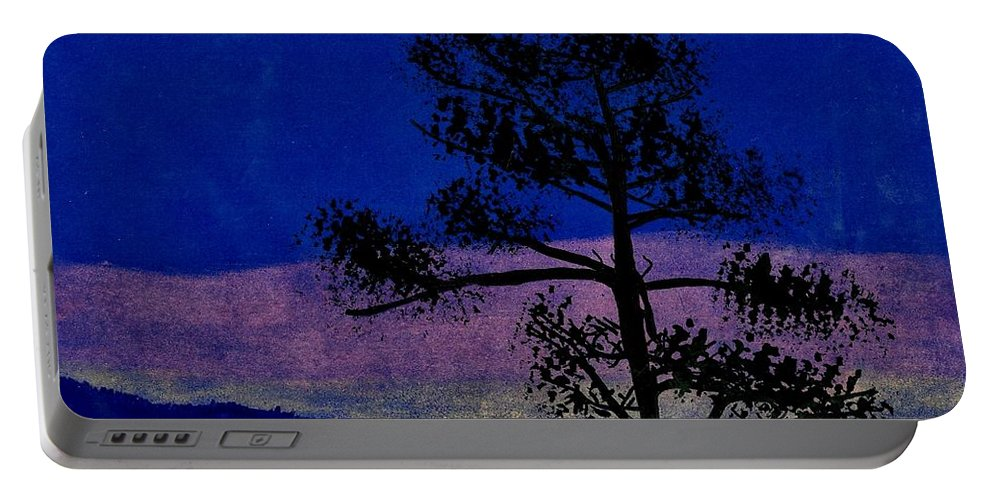 Sunset Portable Battery Charger featuring the drawing Purple Sunset Bay by D Hackett