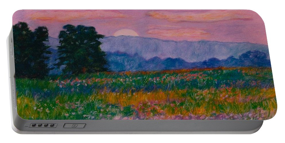 Kendall Kessler Portable Battery Charger featuring the painting Purple Sunset On The Blue Ridge by Kendall Kessler