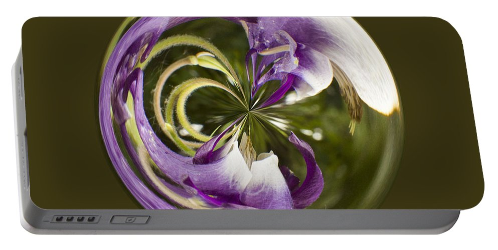 Orb Portable Battery Charger featuring the photograph Purple Swirl Orb by Darleen Stry