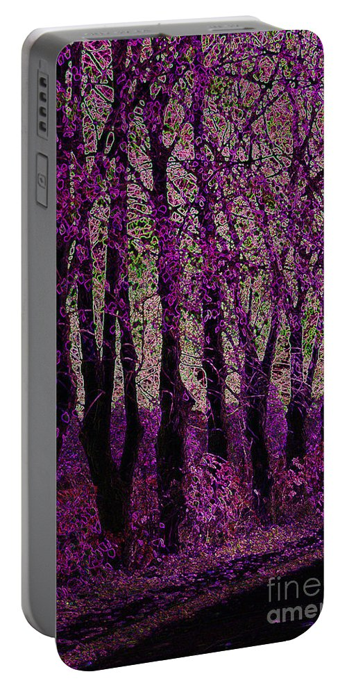 Purple Portable Battery Charger featuring the digital art Purple Trees by Carol Lynch