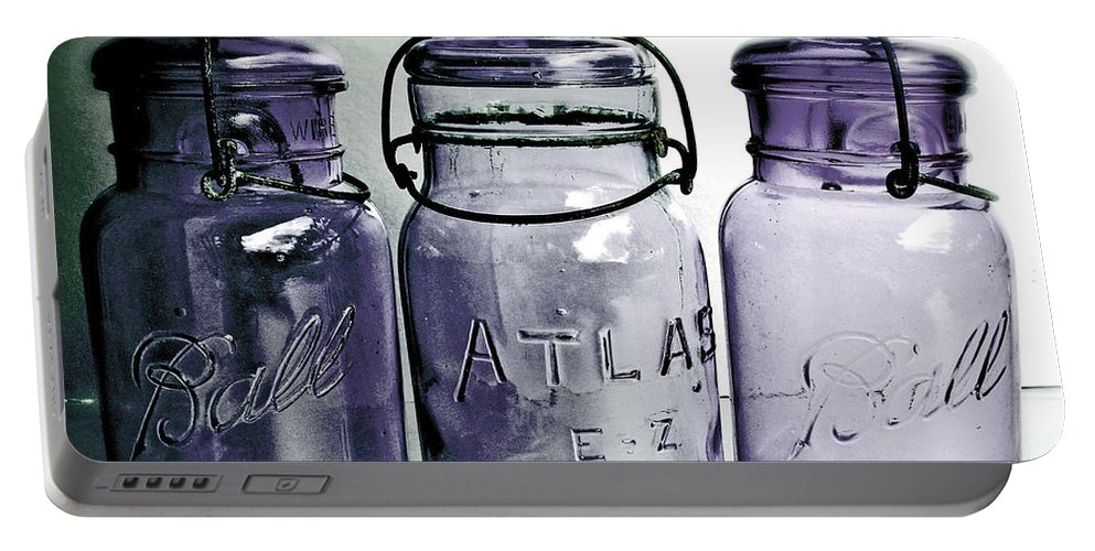 Kitchen Portable Battery Charger featuring the photograph Purple Trio by Angie Mahoney