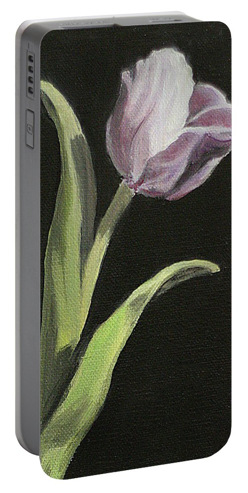 Tulip Portable Battery Charger featuring the painting Purple Tulip by Sarah Parks