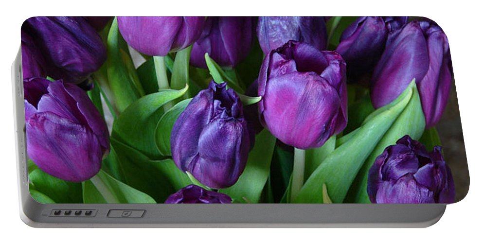 Purple Portable Battery Charger featuring the photograph Purple Tulips by Carol Lynch