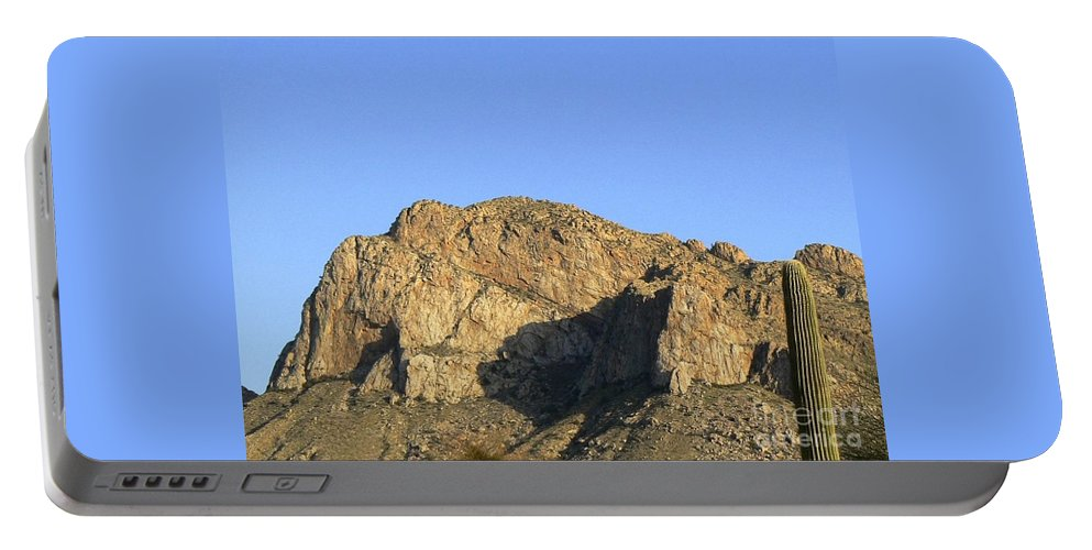 Push Ridge Portable Battery Charger featuring the photograph Pusch Ridge With Saguaro by Rincon Road Photography By Ben Petersen