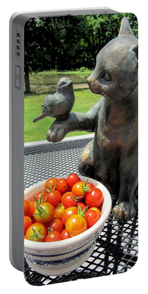 Tomato Portable Battery Charger featuring the photograph Pussycat And Tomatoes by Kathy Clark