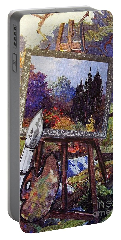 Easel Portable Battery Charger featuring the painting Put Color In Your Life by Eloise Schneider Mote
