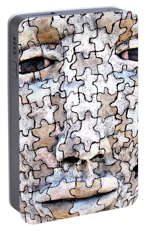 Sculpture Portable Battery Charger featuring the sculpture Puzzled Man No2 by M Pace