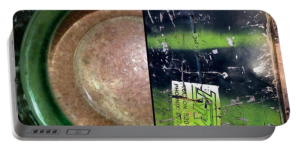 Marlene Burns. Abstract Portable Battery Charger featuring the photograph Pyrex Pair by Marlene Burns
