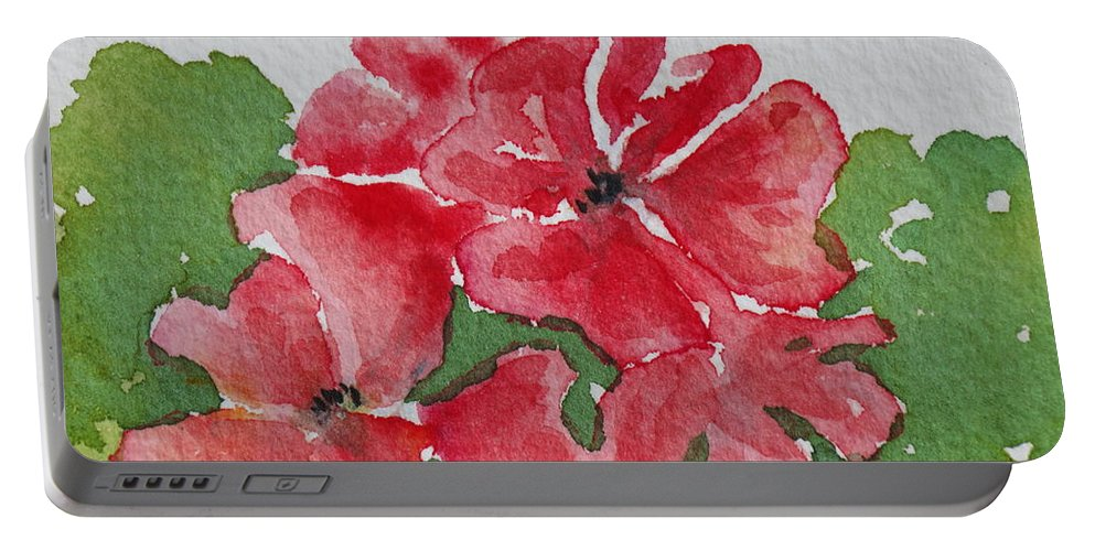 Floral Portable Battery Charger featuring the painting Pzzzazz by Mary Ellen Mueller Legault