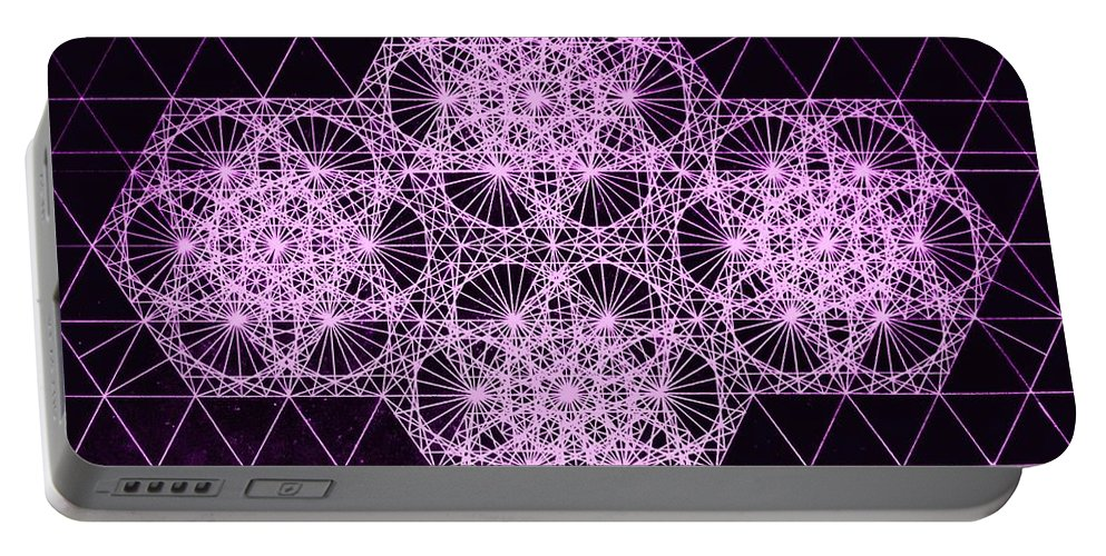 Quantum Portable Battery Charger featuring the drawing Quantum Snowfall by Jason Padgett