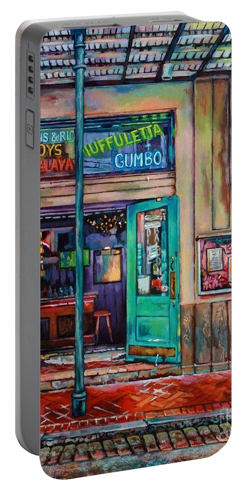 New Orleans Portable Battery Charger featuring the painting Quarter Of A View by Lisa Tygier Diamond