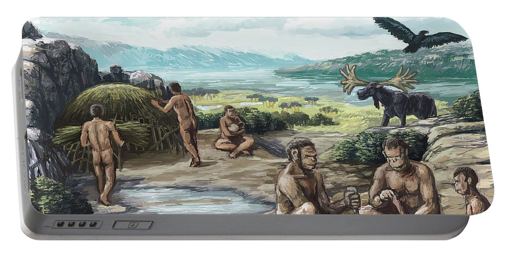 Science Portable Battery Charger featuring the photograph Quaternary Period, Hominid Settlement by Spencer Sutton