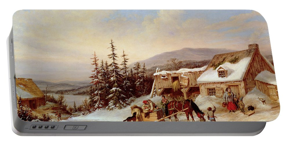 Canada Portable Battery Charger featuring the painting Quebec by Cornelius Krieghoff