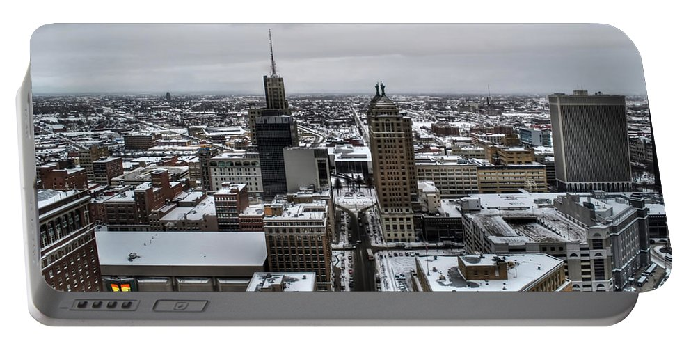 Buffalo Portable Battery Charger featuring the photograph Queen City Winter Wonderland After The Storm Series 001 by Michael Frank Jr