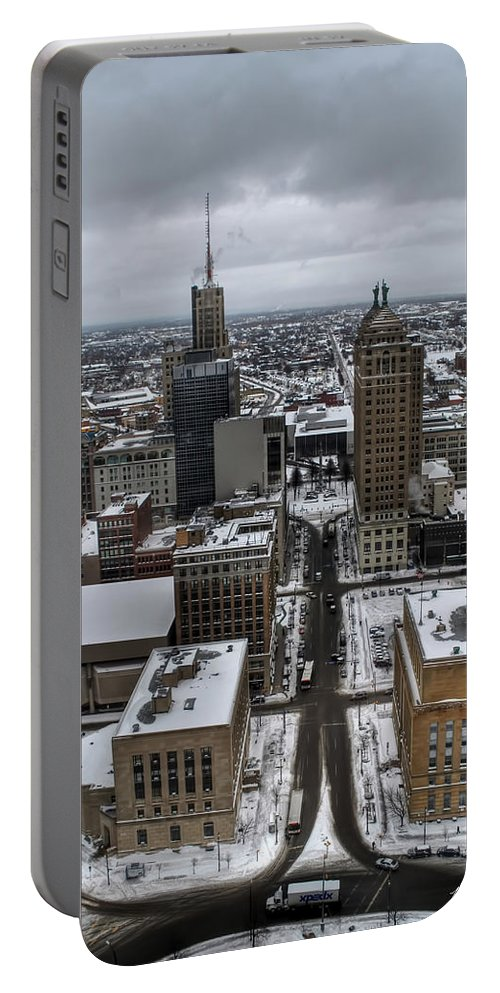 Buffalo Portable Battery Charger featuring the photograph Queen City Winter Wonderland After The Storm Series 004 by Michael Frank Jr