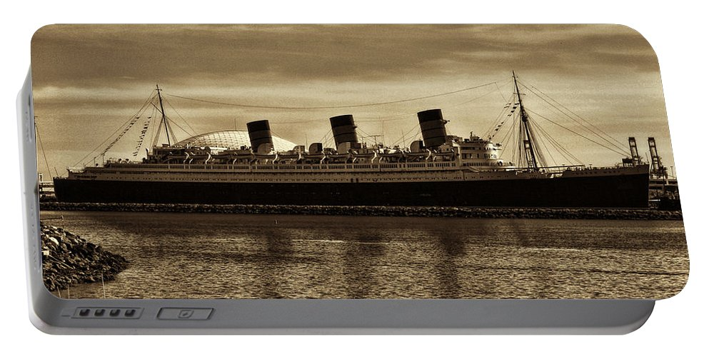 Rms Queen Mary Portable Battery Charger featuring the photograph Queen Mary In Sepia by Tommy Anderson