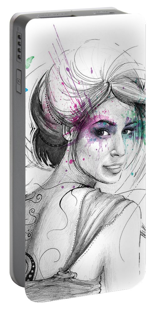 Butterflies Portable Battery Charger featuring the drawing Queen of Butterflies by Olga Shvartsur