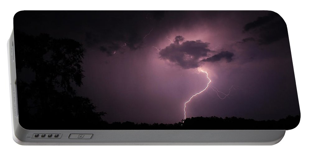 Reid Callaway Lightning Storm Portable Battery Charger featuring the photograph Questioning The Thunderstorm by Reid Callaway
