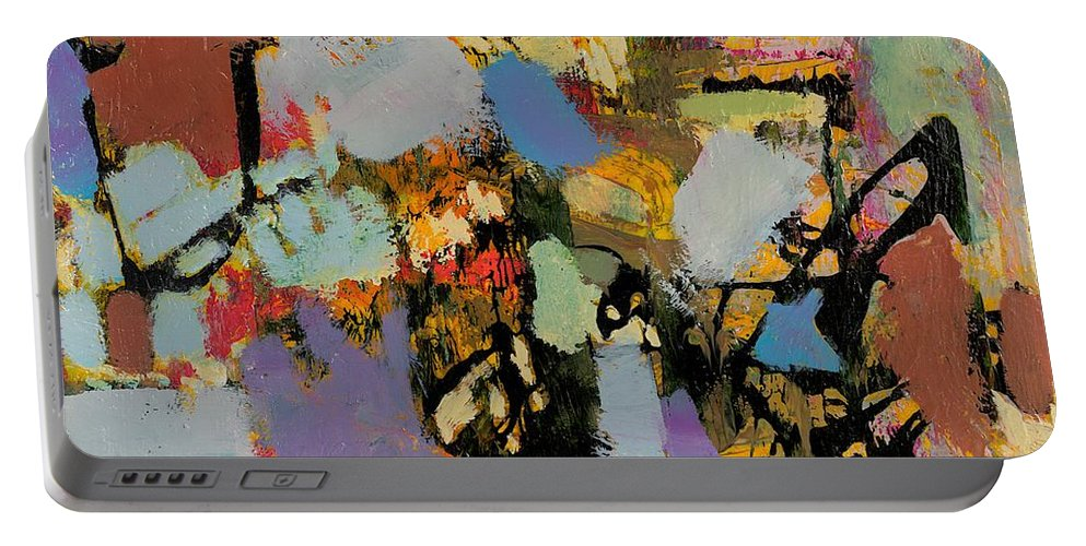 Landscape Portable Battery Charger featuring the painting Quick Racing by Allan P Friedlander