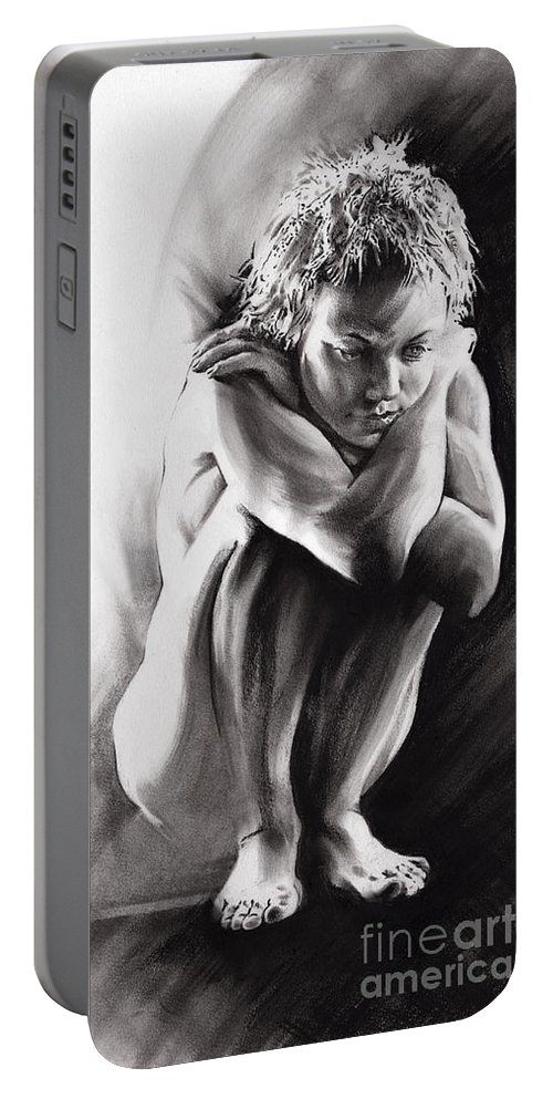 Quiescent 2 Portable Battery Charger featuring the drawing Quiescent II by Paul Davenport