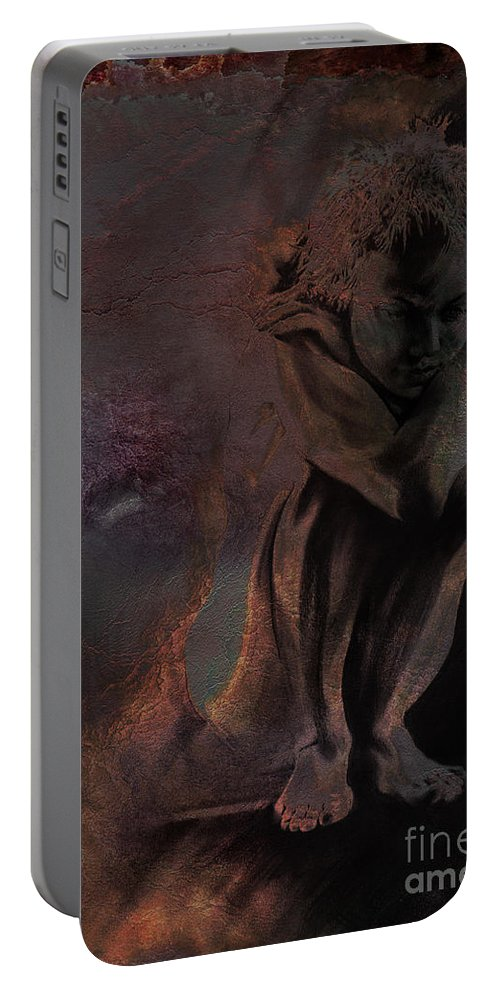 Figurative Portable Battery Charger featuring the drawing Quiescent II. Textured by Paul Davenport
