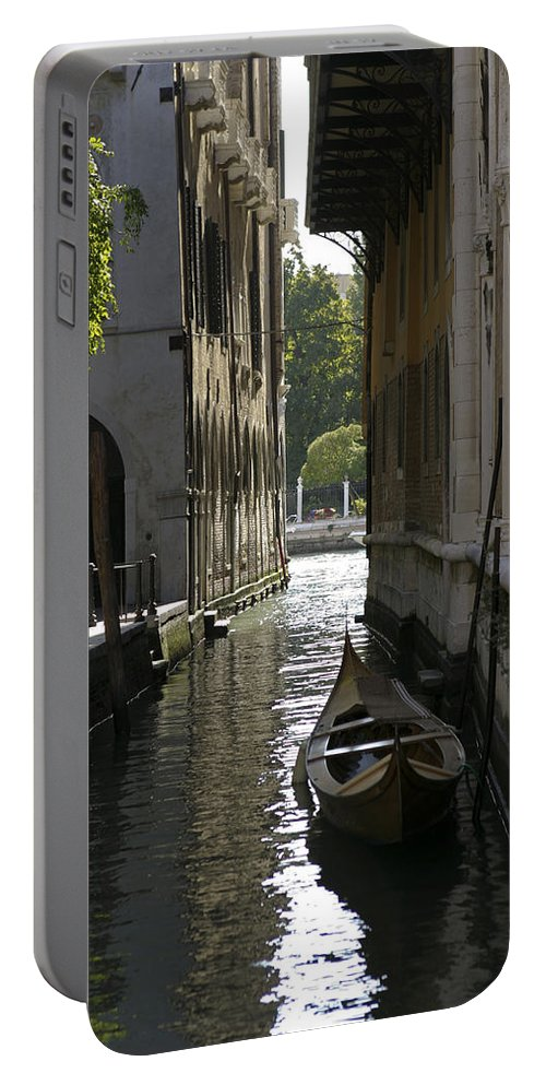 Canal Portable Battery Charger featuring the photograph Quiet Canal In Venice by Belinda Greb