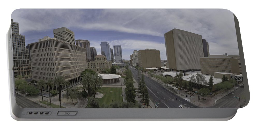 Buildings Portable Battery Charger featuring the photograph Quiet Day In Phoenix by Lorraine Harrington
